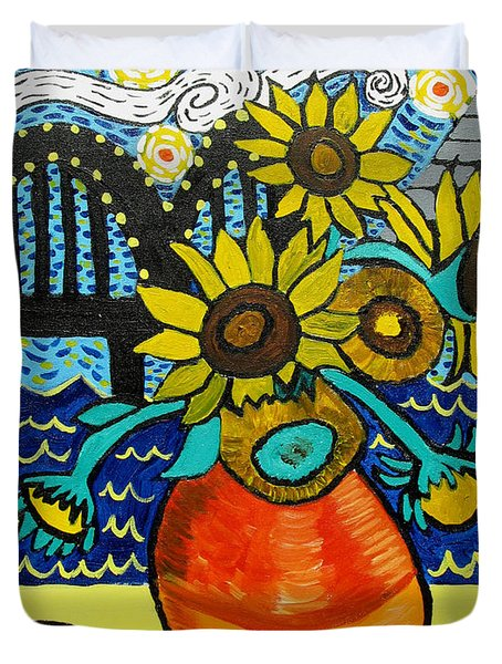 Sunflowers And Starry Memphis Nights Duvet Cover