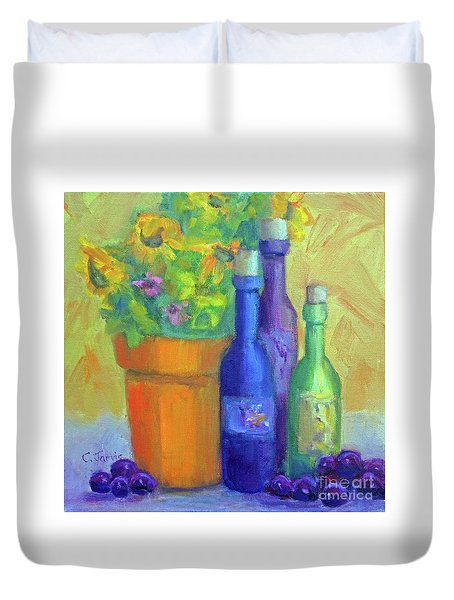 Sunflowers And Wine Duvet Cover