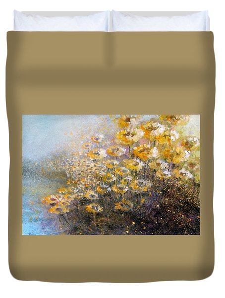 Duvet Cover featuring the painting Sunflowers by Andrew King
