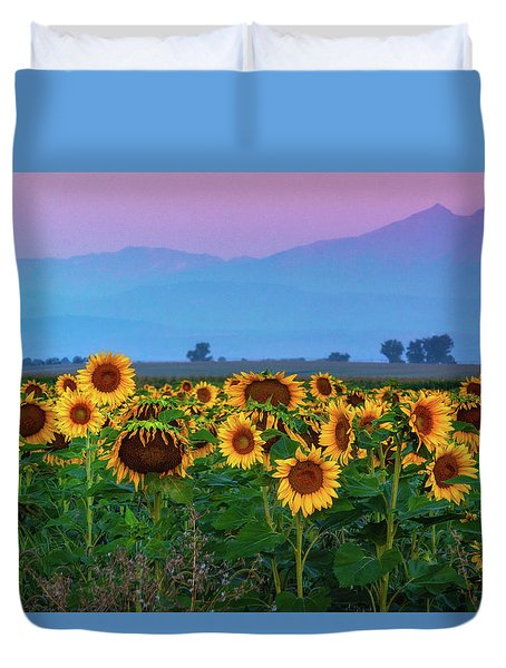 Sunflowers At Dawn Duvet Cover
