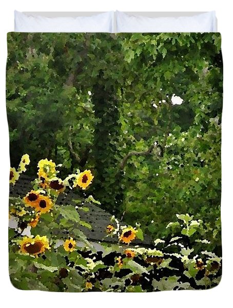 Sunflowers At The Good Earth Market Duvet Cover