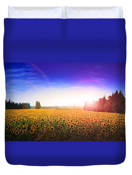 Sunflowers Await The Morning Sun Duvet Cover