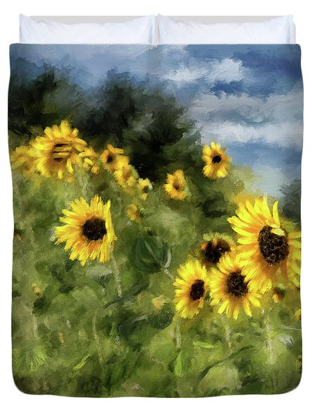 Sunflowers Bowing And Waving Duvet Cover