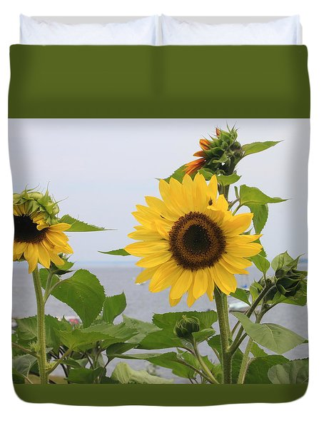 Sunflowers By The Ocean Duvet Cover