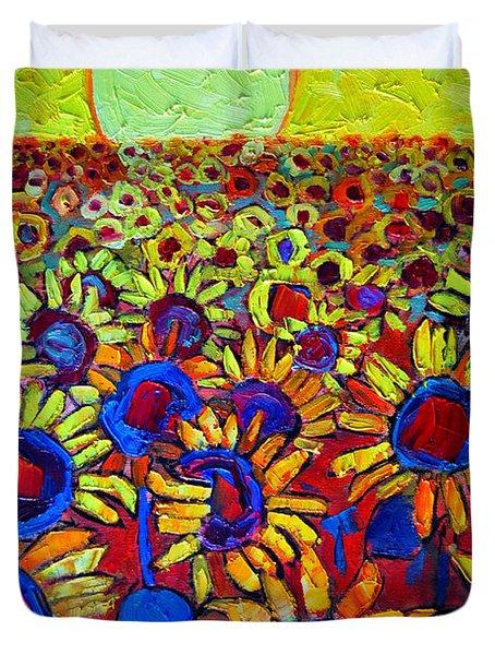 Sunflowers Field At Sunrise Duvet Cover by Ana Maria Edulescu