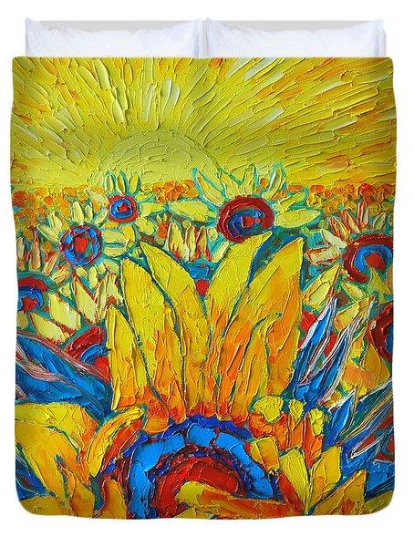 Sunflowers Field In Sunrise Light Duvet Cover