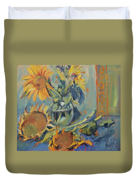 Sunflowers Fresh And Dried With Vase Duvet Cover
