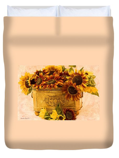 Sunflowers Galore Duvet Cover by Sandra Foster