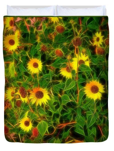 Sunflowers Gone Wild Duvet Cover