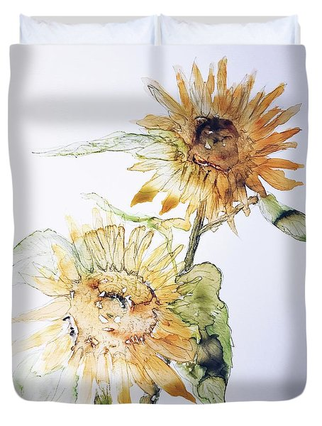 Duvet Cover featuring the painting Sunflowers II Uncropped by Monique Faella