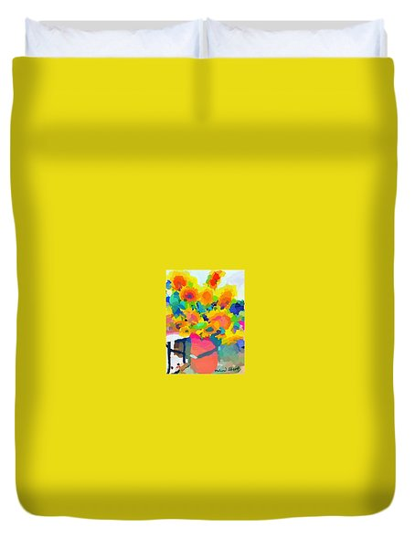 Sunflowers In A Bucket At Rockport Farmers Market Duvet Cover by Melissa Abbott
