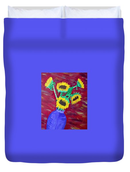 Sunflowers In A Purple Vase Duvet Cover