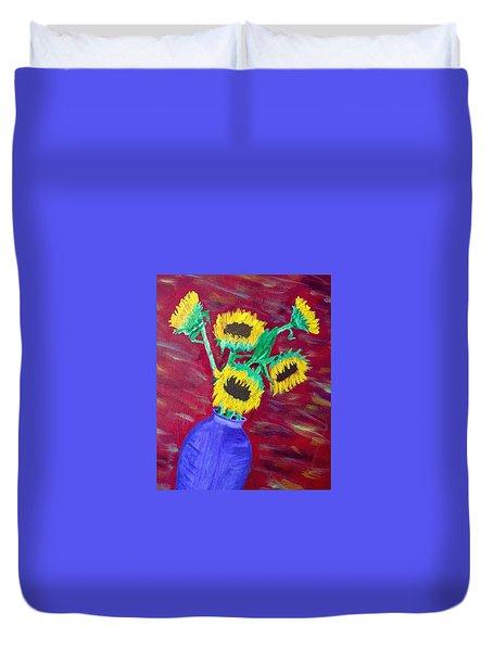 Sunflowers In A Purple Vase Duvet Cover by Brenda Pressnall