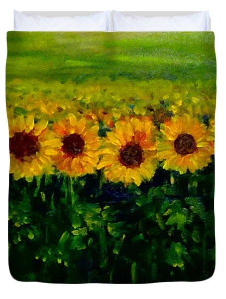 Sunflowers In A Row Duvet Cover