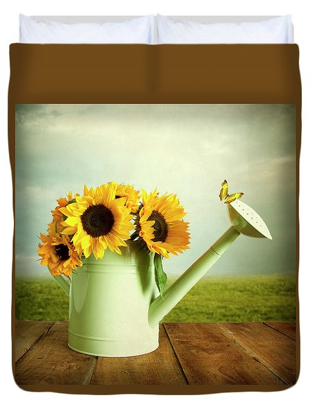 Sunflowers In A Watering Can Duvet Cover