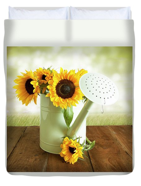 Sunflowers In An Old Watering Can Duvet Cover