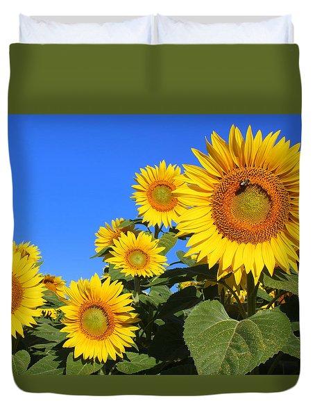 Sunflowers In Blue Duvet Cover