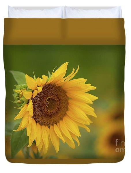 Sunflowers In Field Duvet Cover