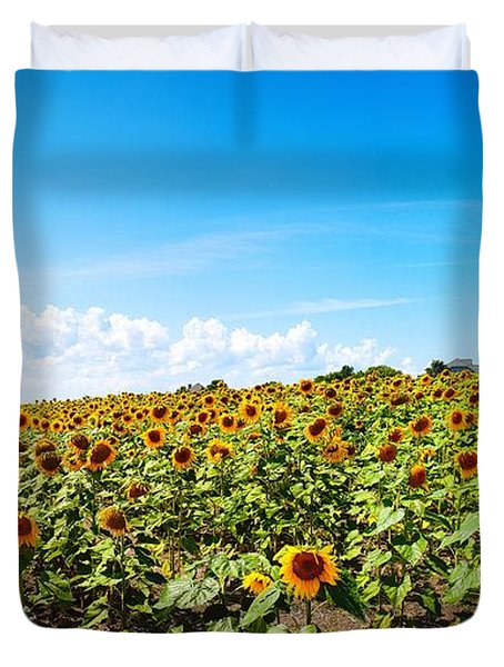 Duvet Cover featuring the photograph Sunflowers In Ithaca New York by Paul Ge