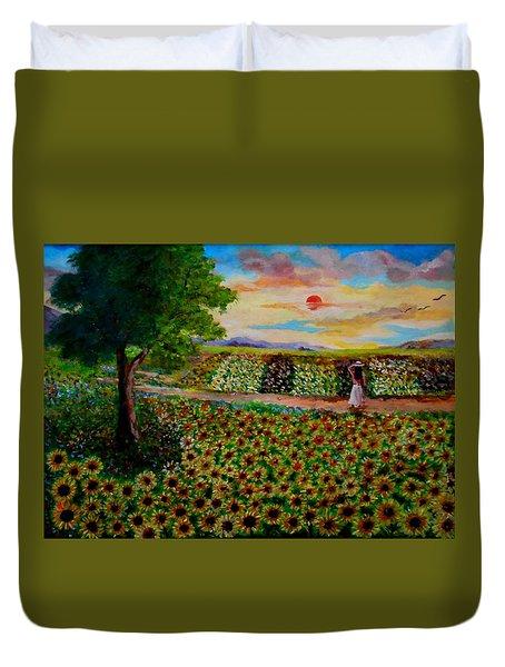 Sunflowers In Sunset Duvet Cover