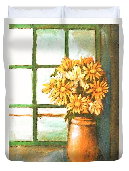 Duvet Cover featuring the painting Sunflowers In Window by Winsome Gunning