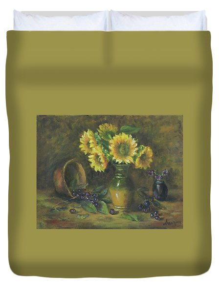 Duvet Cover featuring the painting Sunflowers by Katalin Luczay