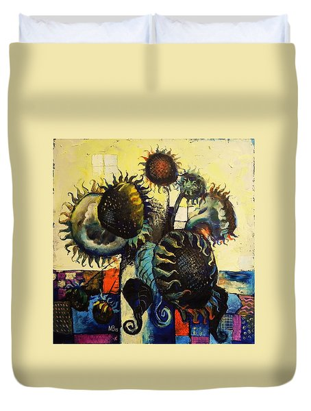 Duvet Cover featuring the painting Sunflowers by Mikhail Zarovny