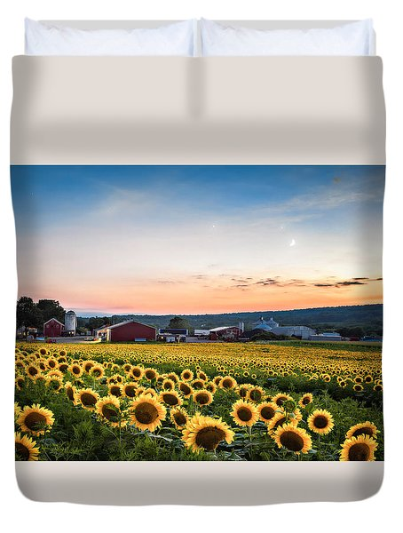 Duvet Cover featuring the photograph Sunflowers, Moon And Stars by Eduard Moldoveanu