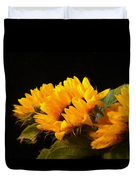 Sunflowers On A Black Background Duvet Cover