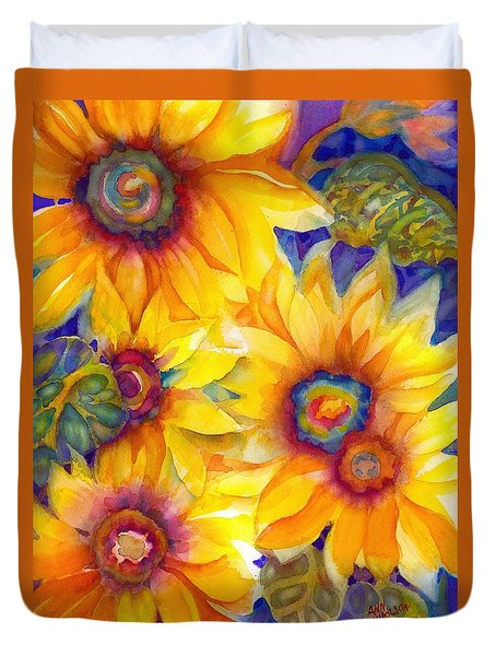Sunflowers On Blue II Duvet Cover