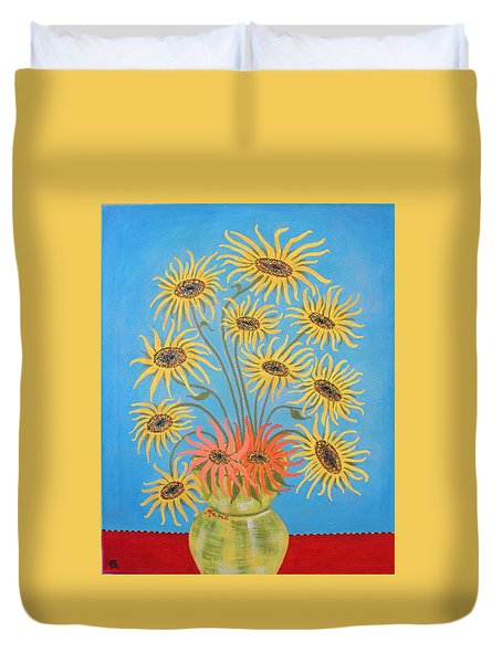 Sunflowers On Blue Duvet Cover by Marie Schwarzer