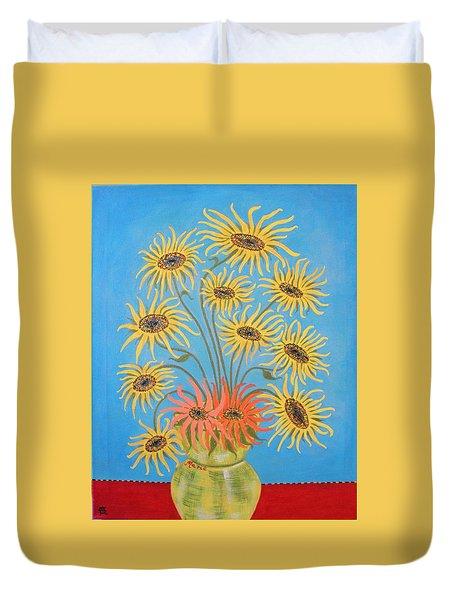 Sunflowers On Blue Duvet Cover