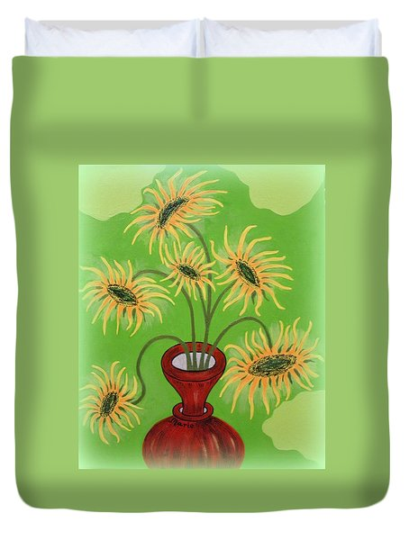 Sunflowers On Green Duvet Cover by Marie Schwarzer