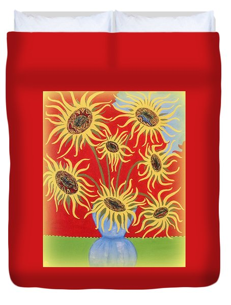 Sunflowers On Red Duvet Cover by Marie Schwarzer