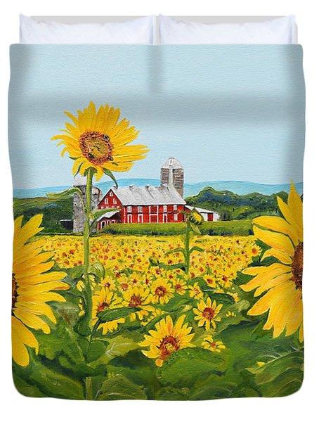 Sunflowers On Route 45 - Pennsylvania- Autumn Glow Duvet Cover