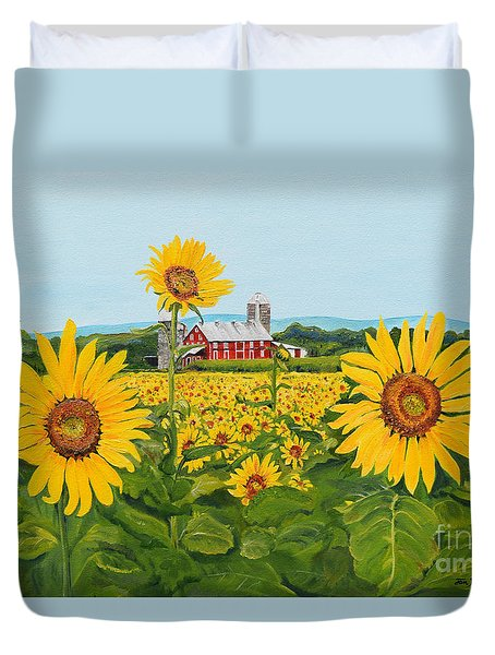 Sunflowers On Route 45 - Pennsylvania- Autumn Glow Duvet Cover