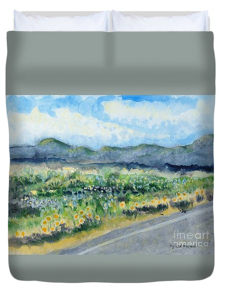 Sunflowers On The Way To The Great Sand Dunes Duvet Cover by Holly Carmichael