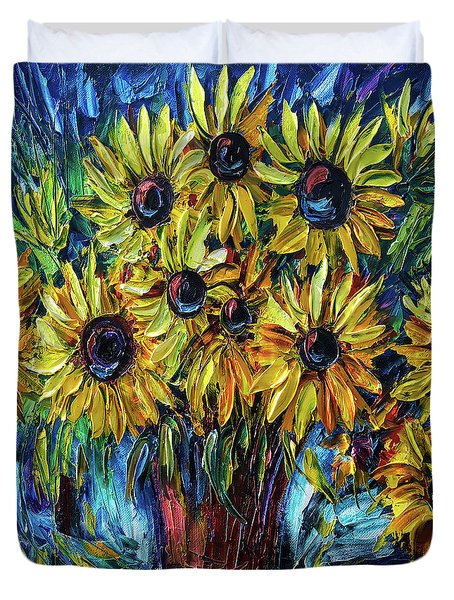 Sunflowers  Palette Knife Duvet Cover