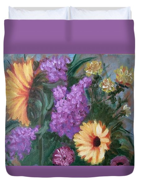 Duvet Cover featuring the painting Sunflowers by Sharon Schultz