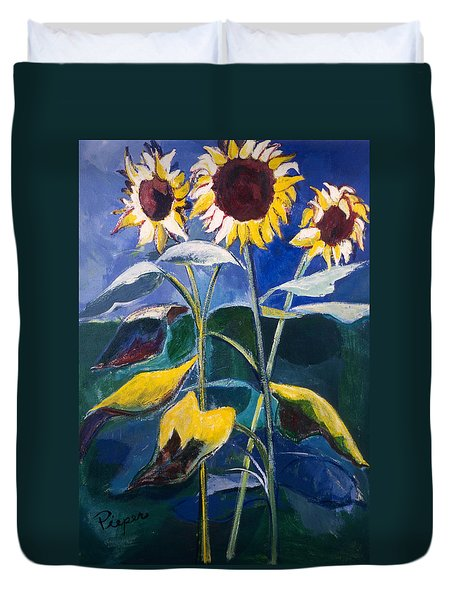 Sunflowers Standing Tall Duvet Cover by Betty Pieper