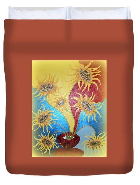 Sunflowers Symphony Duvet Cover by Marie Schwarzer