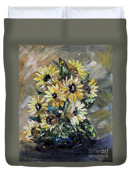 Duvet Cover featuring the painting Sunflowers by Teresa Wegrzyn