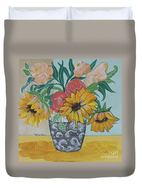 Duvet Cover featuring the painting Sunflowers Three by Robin Maria Pedrero