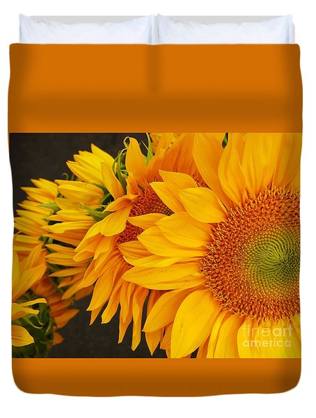 Sunflowers Train Duvet Cover