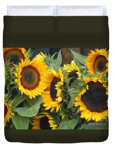 Duvet Cover featuring the photograph Sunflowers Two by Chrisann Ellis