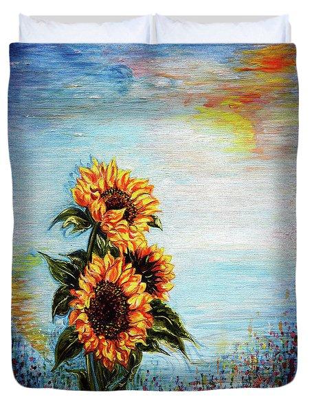 Sunflowers - Where Ocean Meets The Sky Duvet Cover