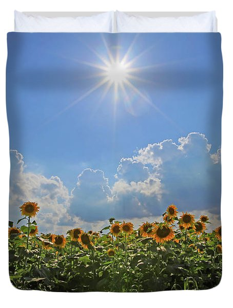 Sunflowers With Sun And Clouds 1 Duvet Cover