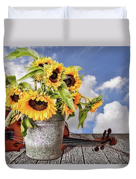 Sunflowers With Violin Duvet Cover