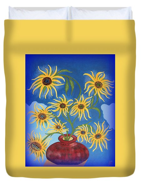 Sunflowers On Navy Blue Duvet Cover by Marie Schwarzer