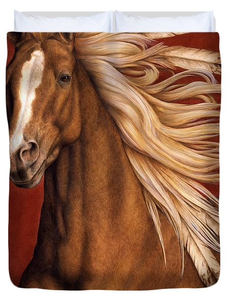 Duvet Cover featuring the painting Sunhorse by Pat Erickson